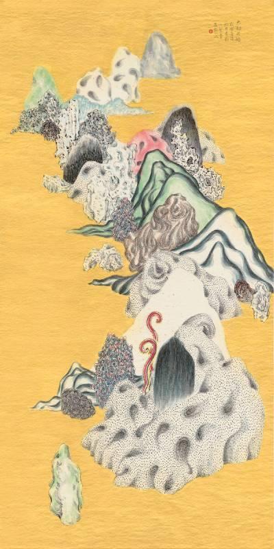 袁慧莉(YUAN Hui-Li)_類山水No.51(Ambiguous World Series No.51) ,133x66 cm,灑金淨皮宣、彩墨、泥金(Color, ink and golden glue on sprinkle gold-leaf Chinese handmade paper),2016年。圖/多納藝術提供