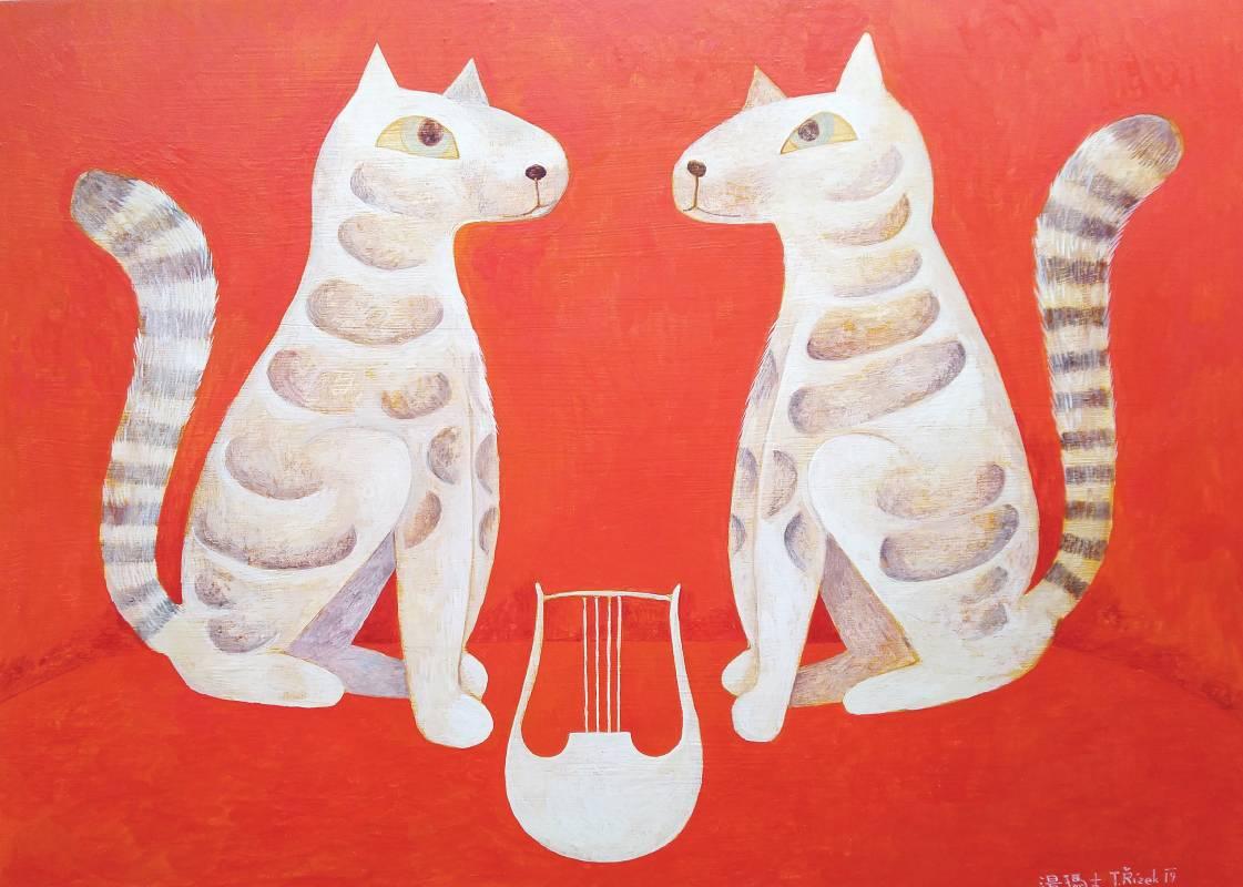 奧菲斯的豎琴守護者  (Orpheus's Harp Keeper)  木板蛋彩畫