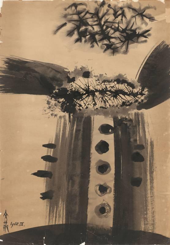 歐陽文苑_抽象-11_水墨、紙本_77x55 cm_1960