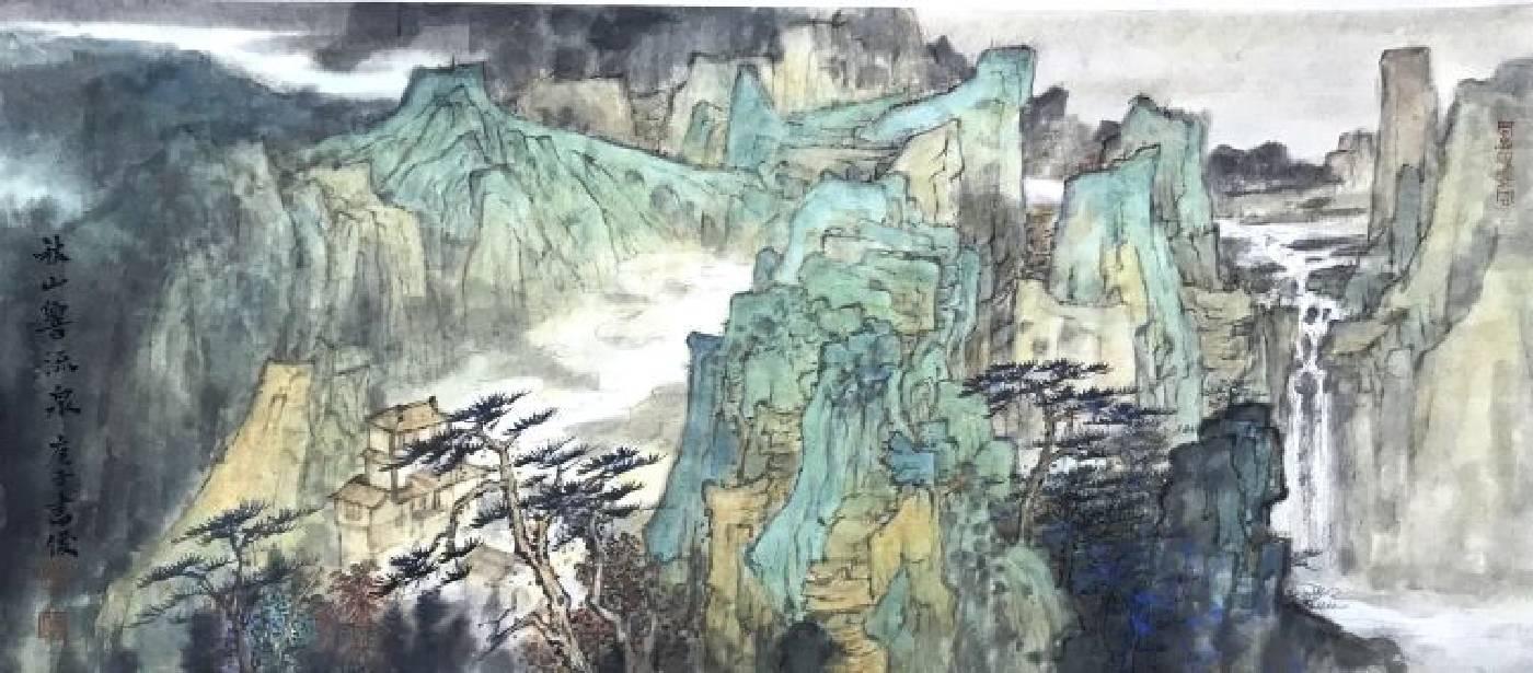 秋山響流泉 31x70cm