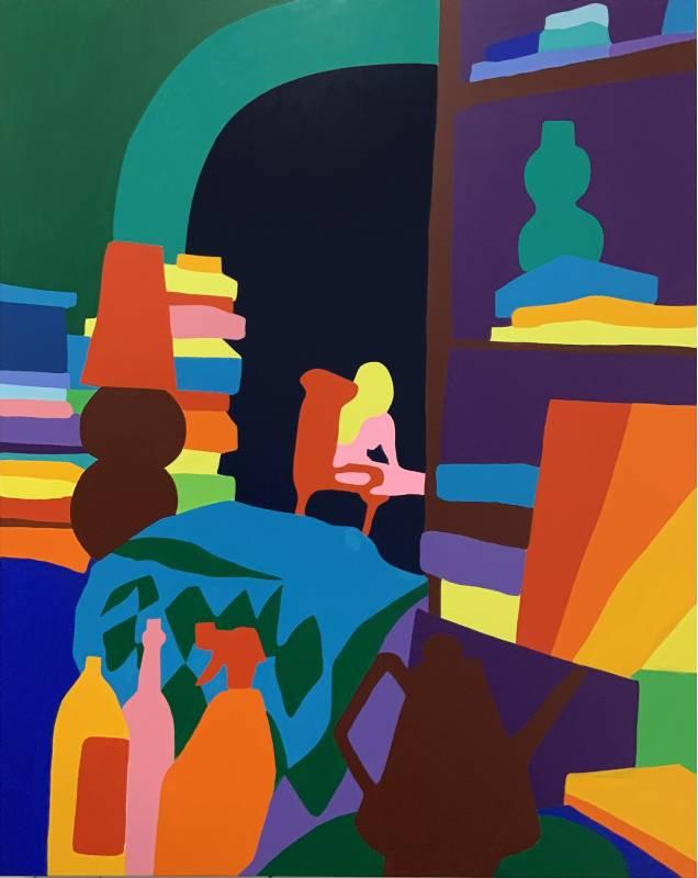 陶德・詹姆斯 Todd James, 一個人的娛樂 Entertainment For One, 2020, 壓克力畫布 Acrylic on canvas, 152.4 x 121.9 cm (Whitestone Gallery)