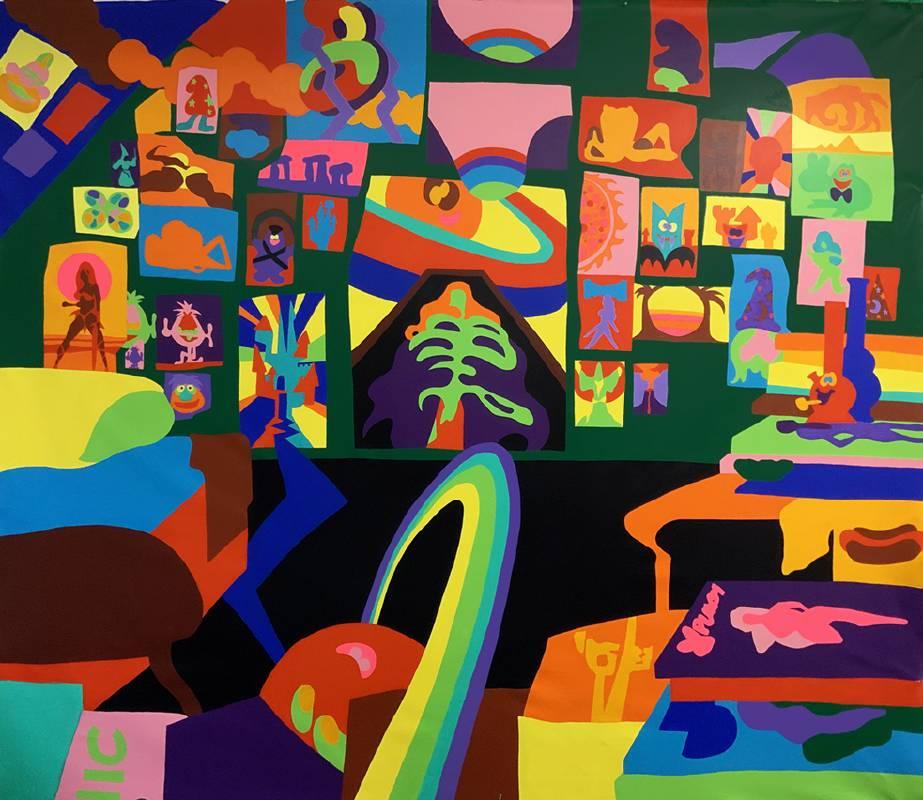 陶德・詹姆斯 Todd James, 夢想家・信徒 Dreamer Believer, 2020, 壓克力畫布 Acrylic on canvas, 284.5 x 316.0 cm (Whitestone Gallery)