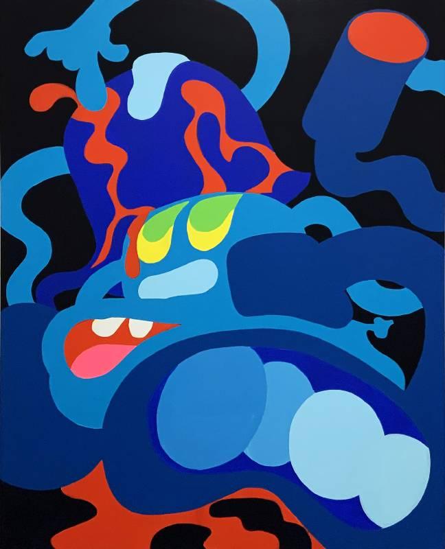 陶德・詹姆斯 Todd James, 嘿 中士,怎麼了 Hey Sarge, What's The Deal, 2020, 壓克力畫布 Acrylic on canvas, 152.4 x 121.9 cm (Whitestone Gallery)