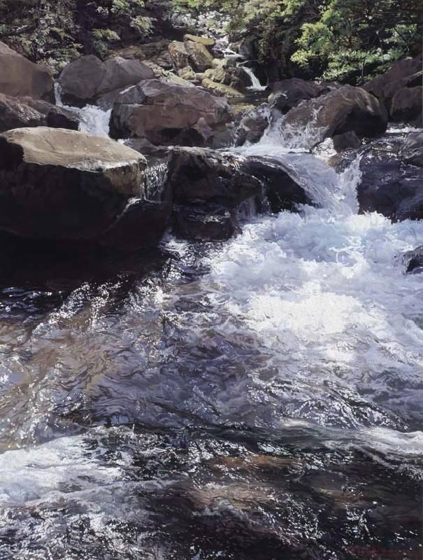 標題:林澗湧泉尺寸:80*60.5 cm 年代:2019    材質:油畫/畫板