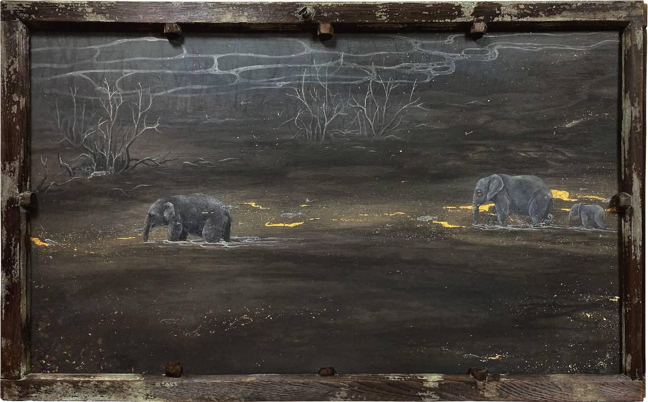 陳彥廷Chen Yen Ting / 走過無數喧囂的夜through the endless night 礦物顏料、壓克力、金箔、銀箔、木板設色 Mixed media on wood 78x130.5 cm 2020