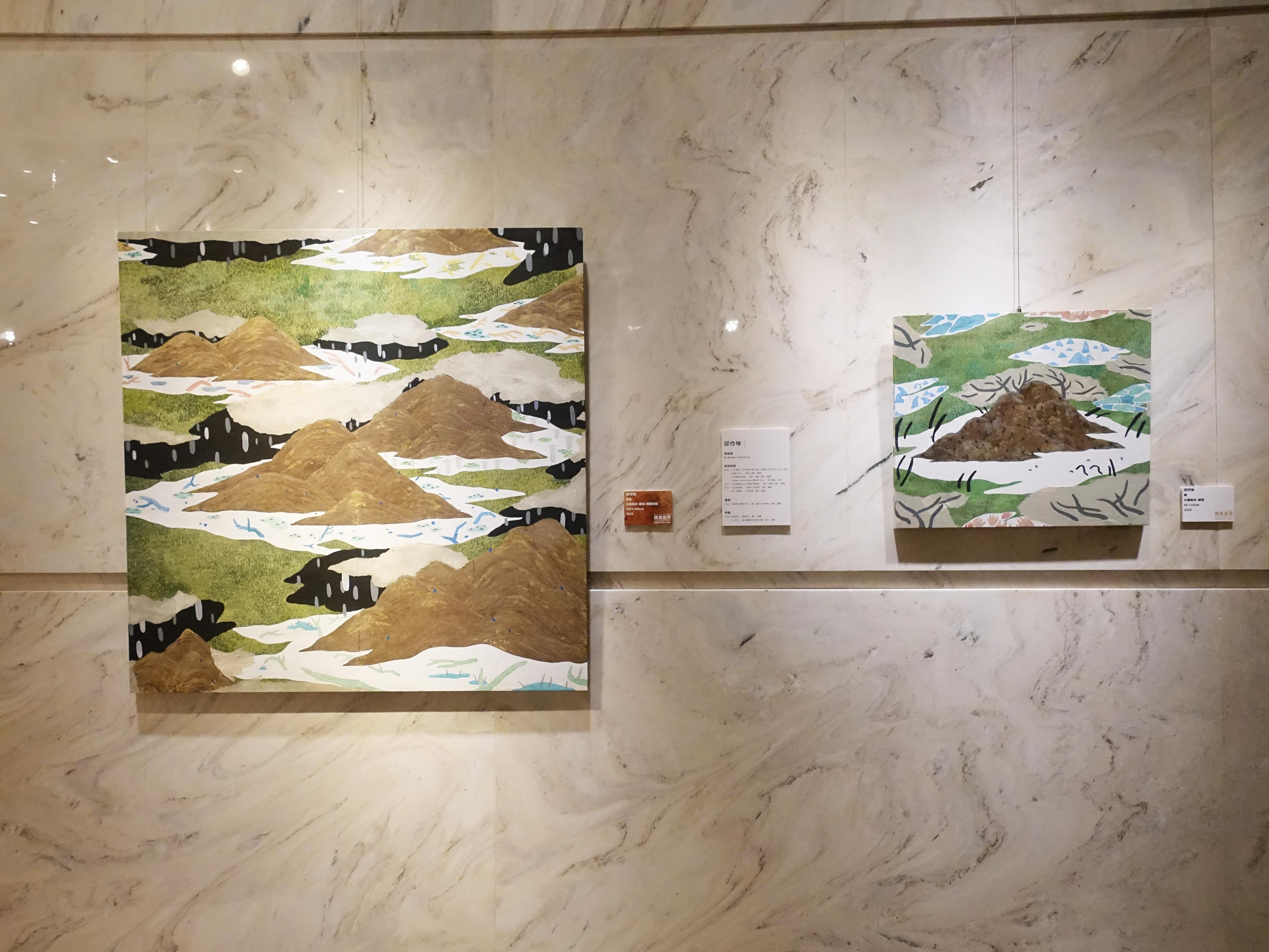 王道銀行基金會展出入圍者邱伶琳水墨系列創作。