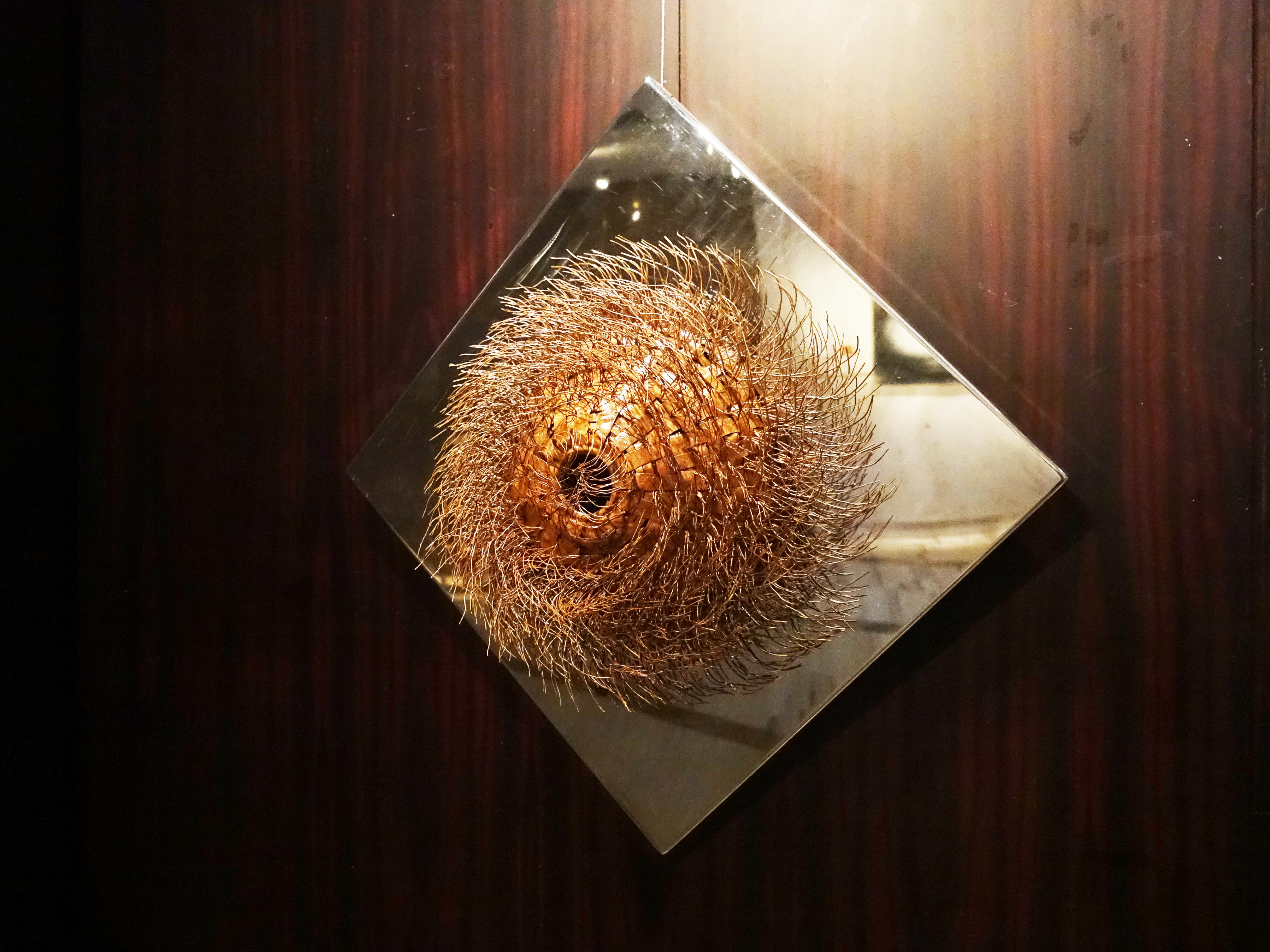 林煥嘉,《陽 ‧ 形》,紅銅、不鏽鋼,50x50x40cm,2019。