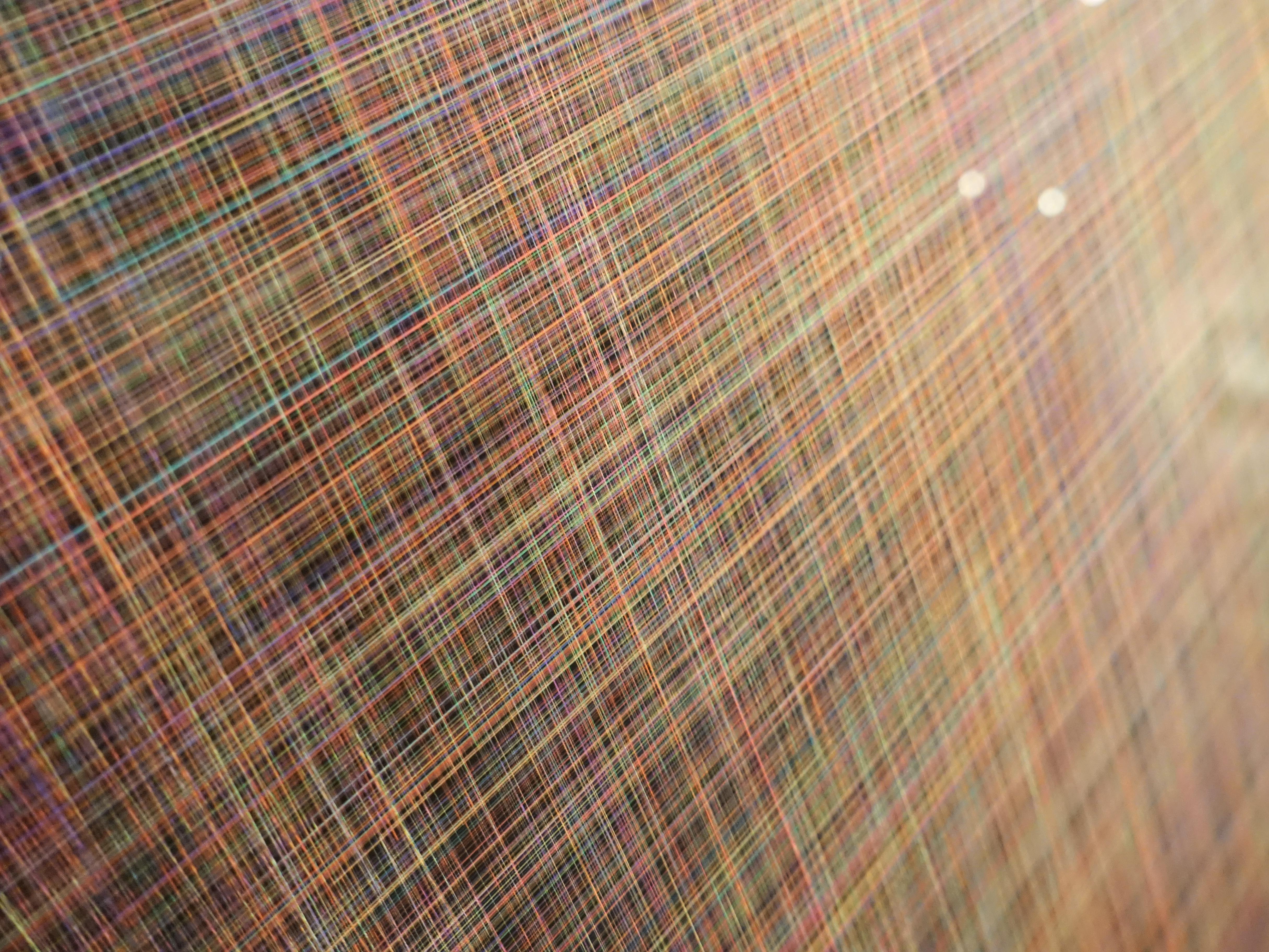 劉呈祥,《次元#9|思緒宇宙》細節,演算法系統、紙、顏料墨,110x73cm,2019。