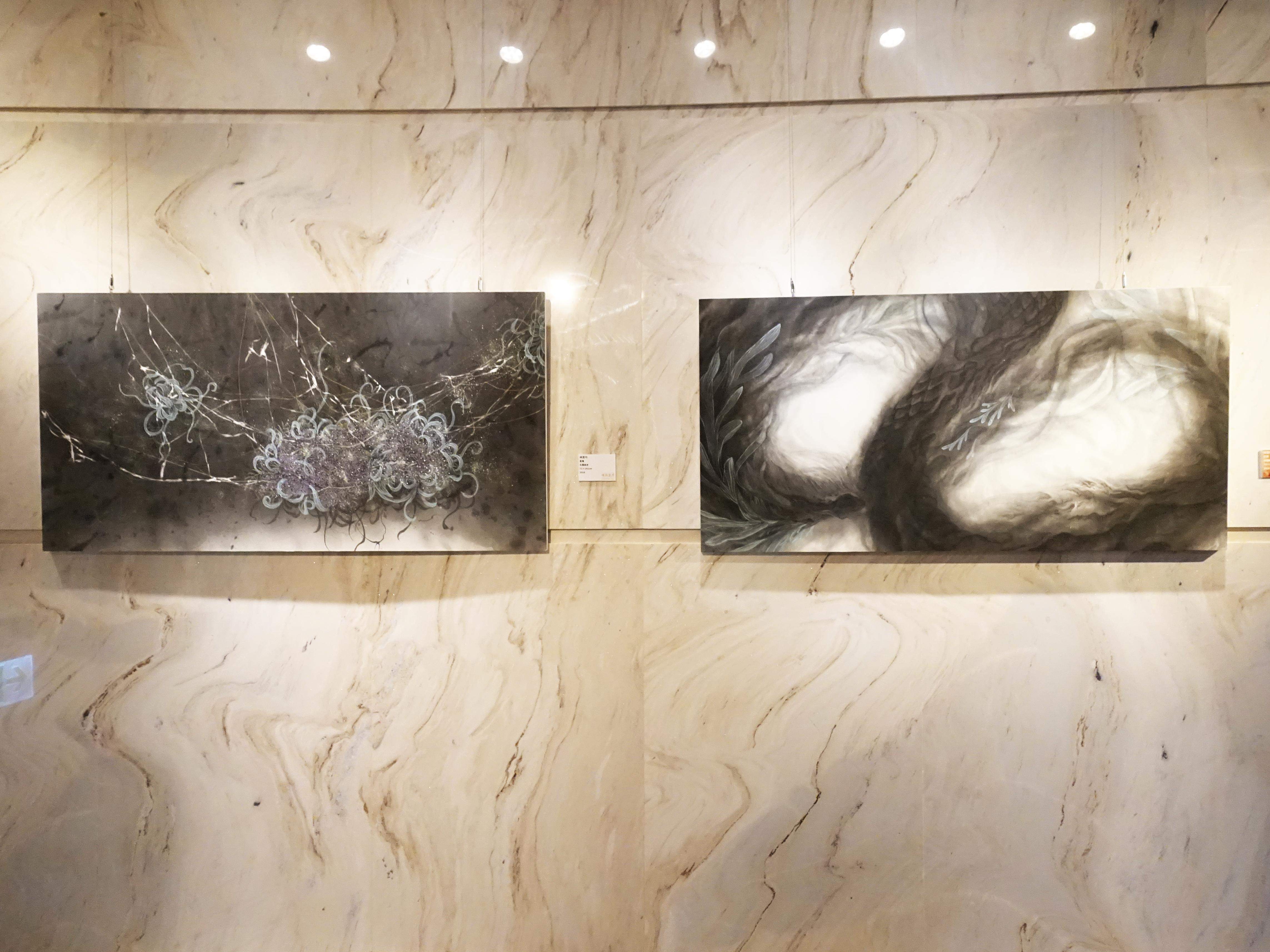 王道銀行基金會展出入圍者林昱均水墨系列作品。