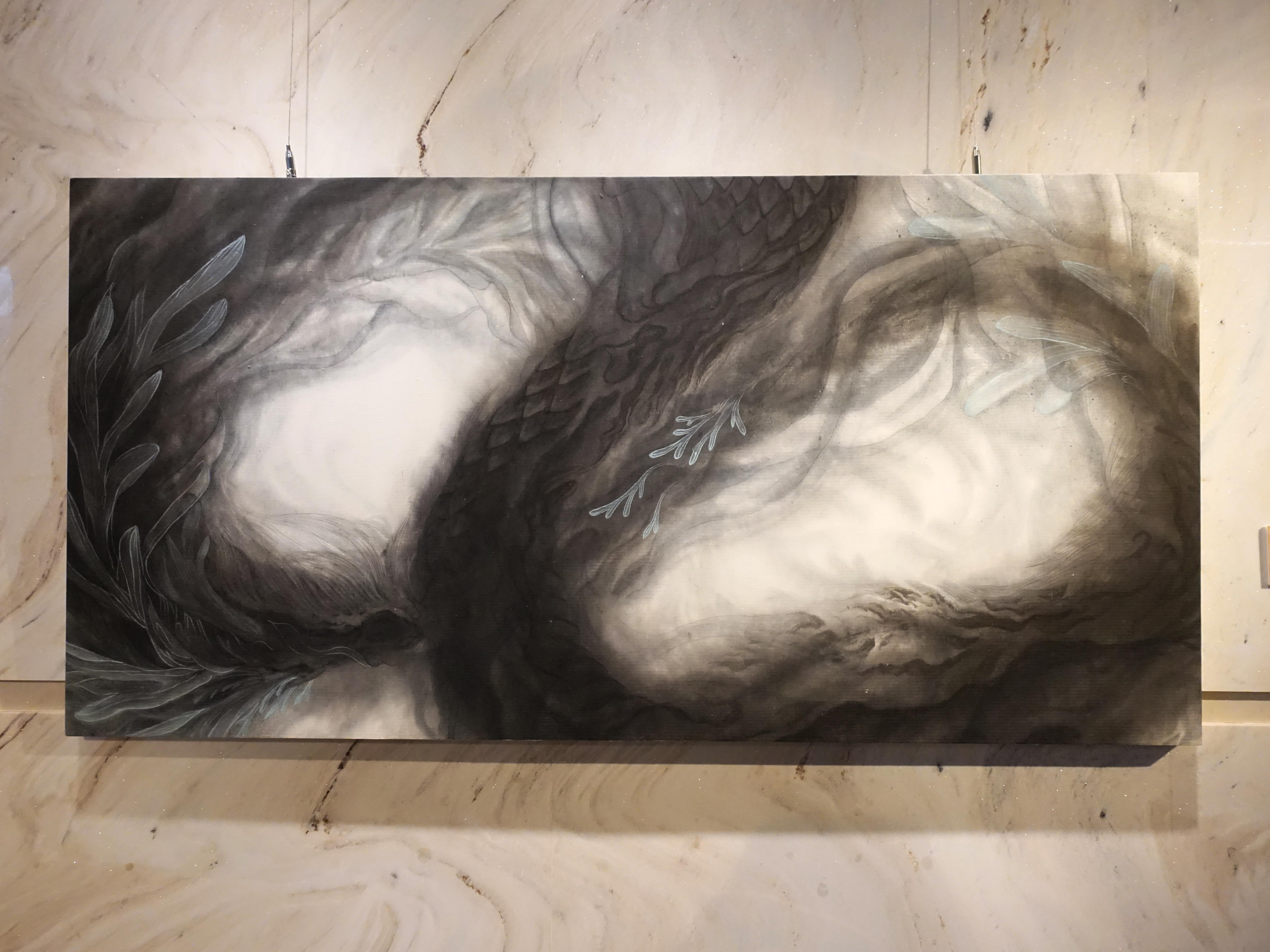 林昱均,《在淵》,水墨紙本,72x141cm,2020。