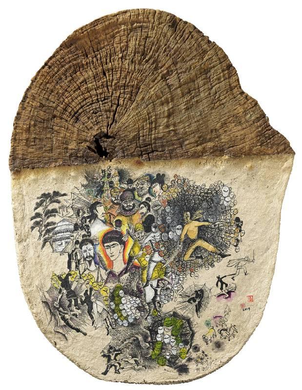 《自己的武林》 Own Wulin  2019 木頭、紙漿、樹脂、壓克力顏料 Wood, paper pulp,resin,acrylic 73.5 x 56 cm