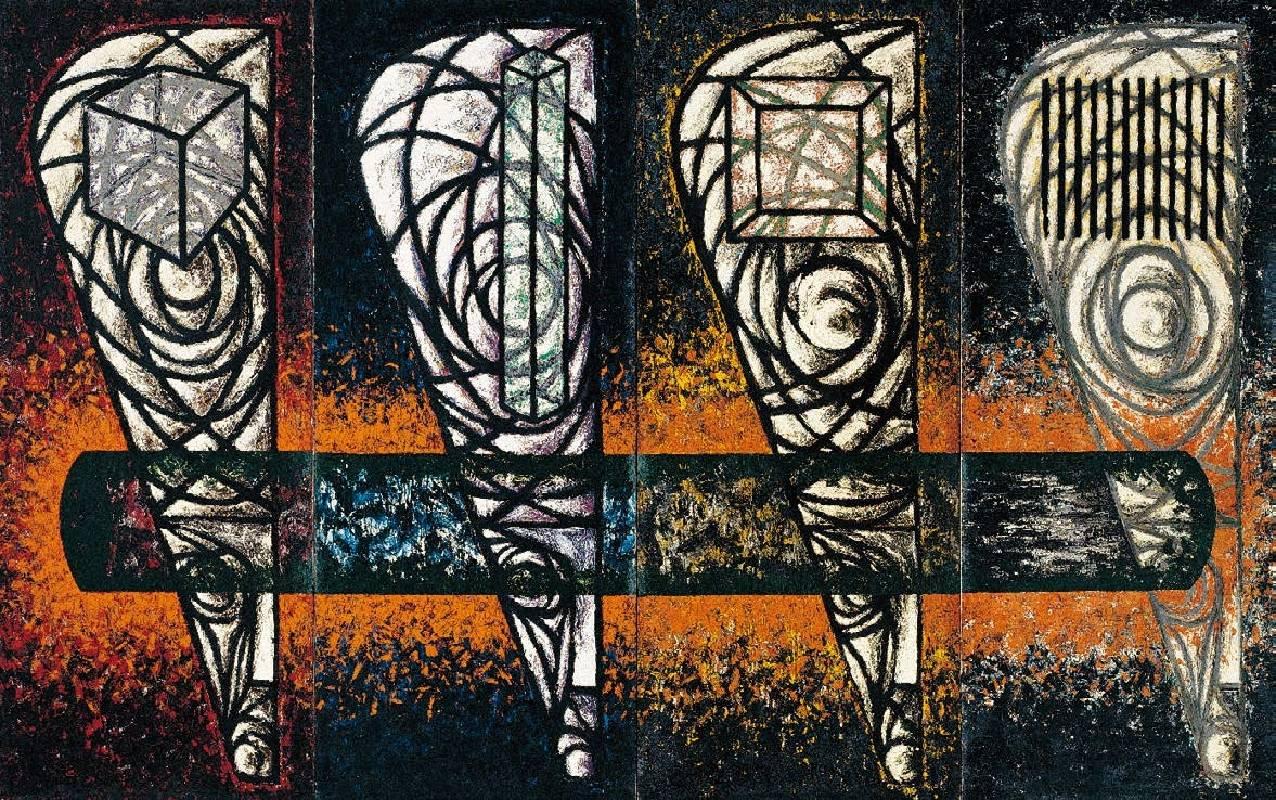 知識份子 - 各有觀點(四聯幅) 1992  油彩 320x200cm