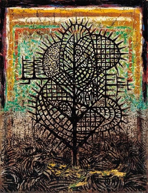 楊仁明 從黑水長出來的新植物 - 於思考中的存在方式 1994  油彩 112x145.5cm