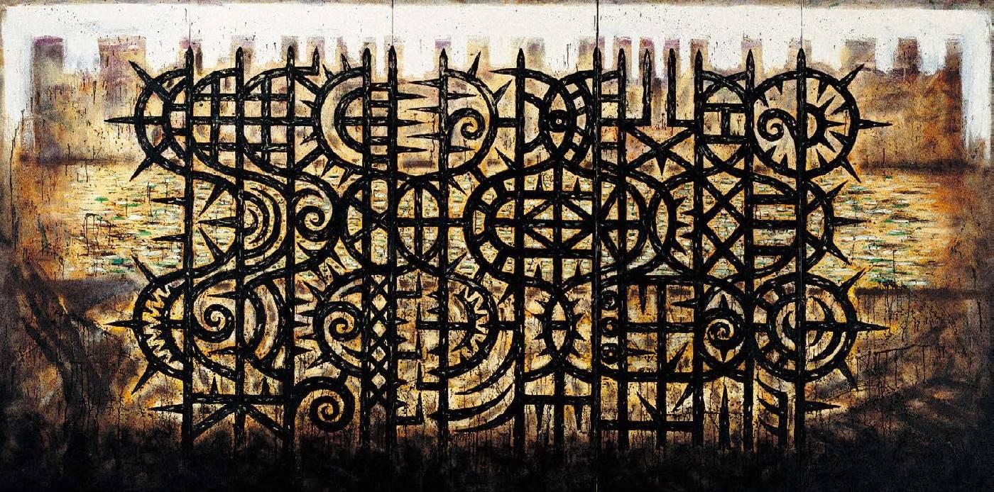 楊仁明 從黑水長出來的新植物 - 欄杆型態(五聯幅)  1994 油彩 400x200