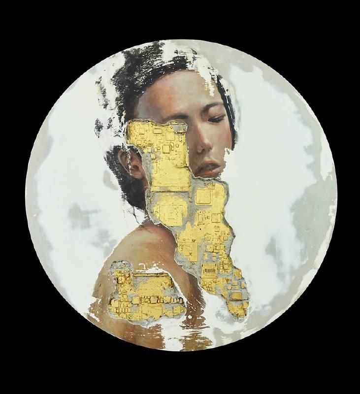 黃贊倫, 器官04  Organ 04, AP樹脂、水泥、 廢棄主機板、金箔 、壓克力, 67x67x10cm, 2020