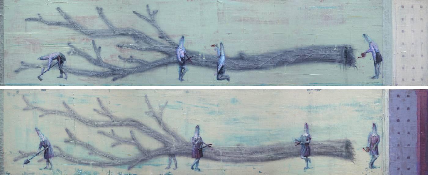 林世雍,地基主-6  Foundation master-6, 壓克力顏料、色鉛筆、畫布, 20x100 cm X2, 2019