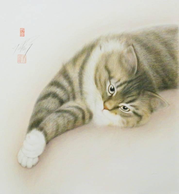 高橋行雄 伸展的ZZ 2010年 49.5x46cm 彩色鉛筆.版畫紙
