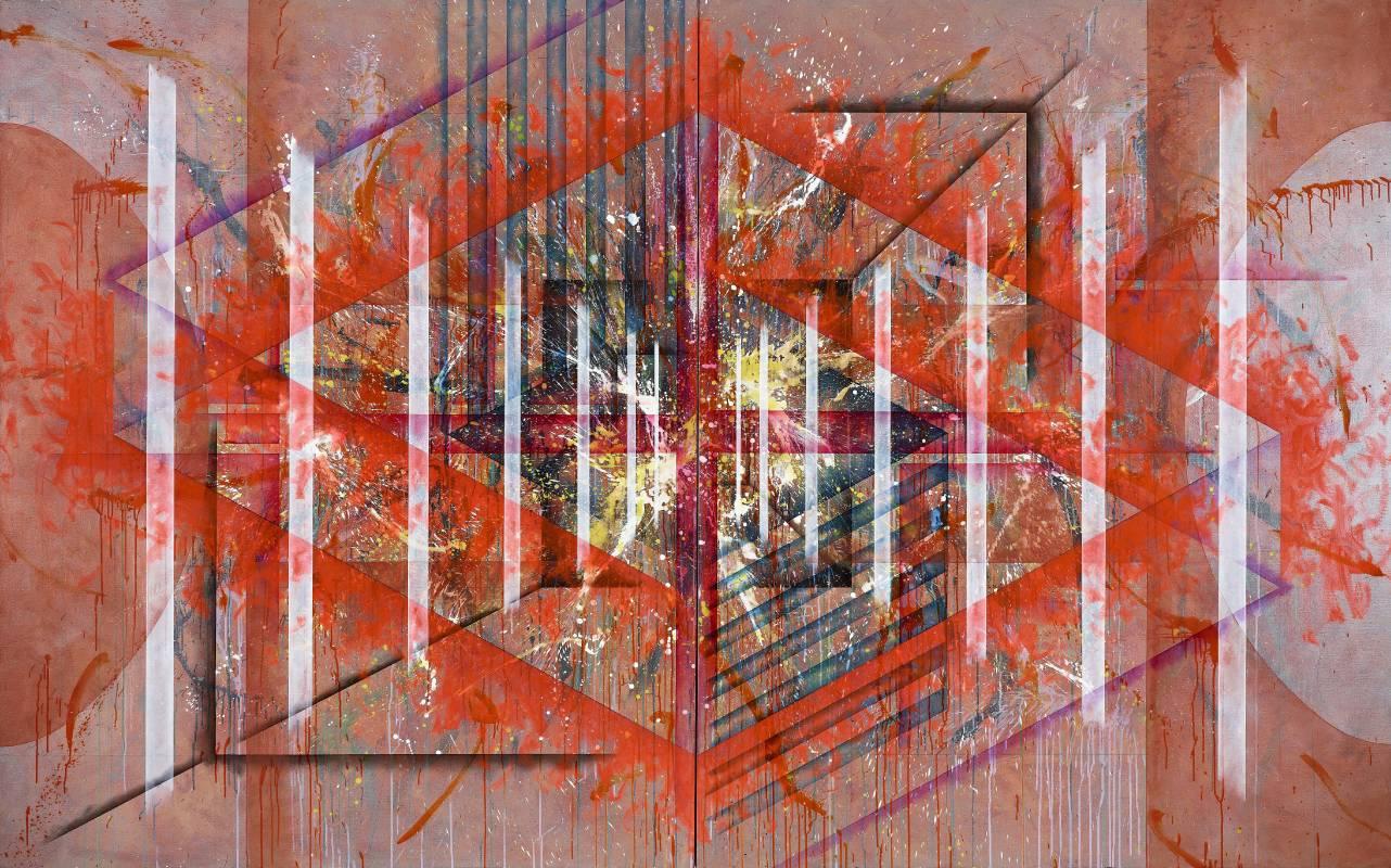 楊仁明 打底加邊未確定的禮盒 2011 壓克力,油彩 227x364cm(雙聯幅,單幅182x227cm)