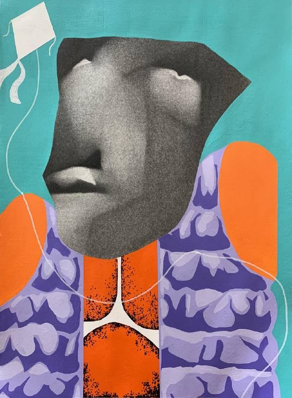 《放風箏》,27x 38  cm,複合媒材,2019