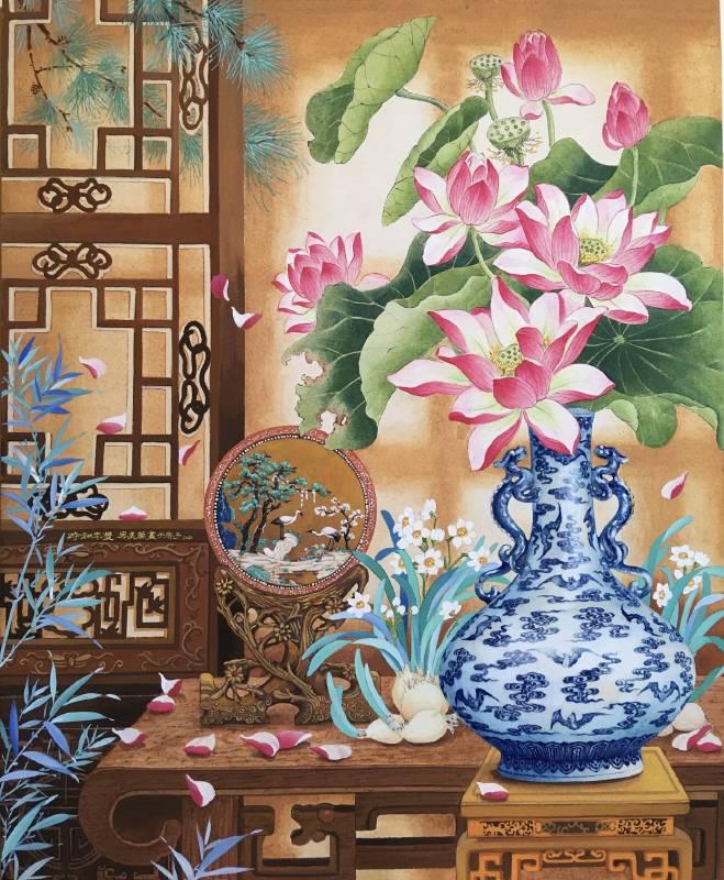 廖美蘭《美好時光-時和年豐》膠彩,紙本 53x65cm