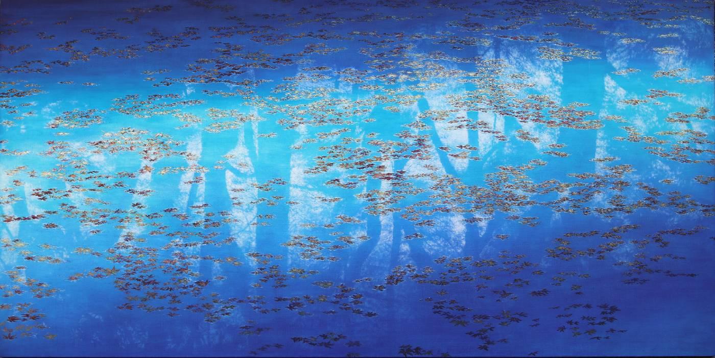 劉韋岑《波紋 - 楓紅 5》油彩,畫布 194x97cm
