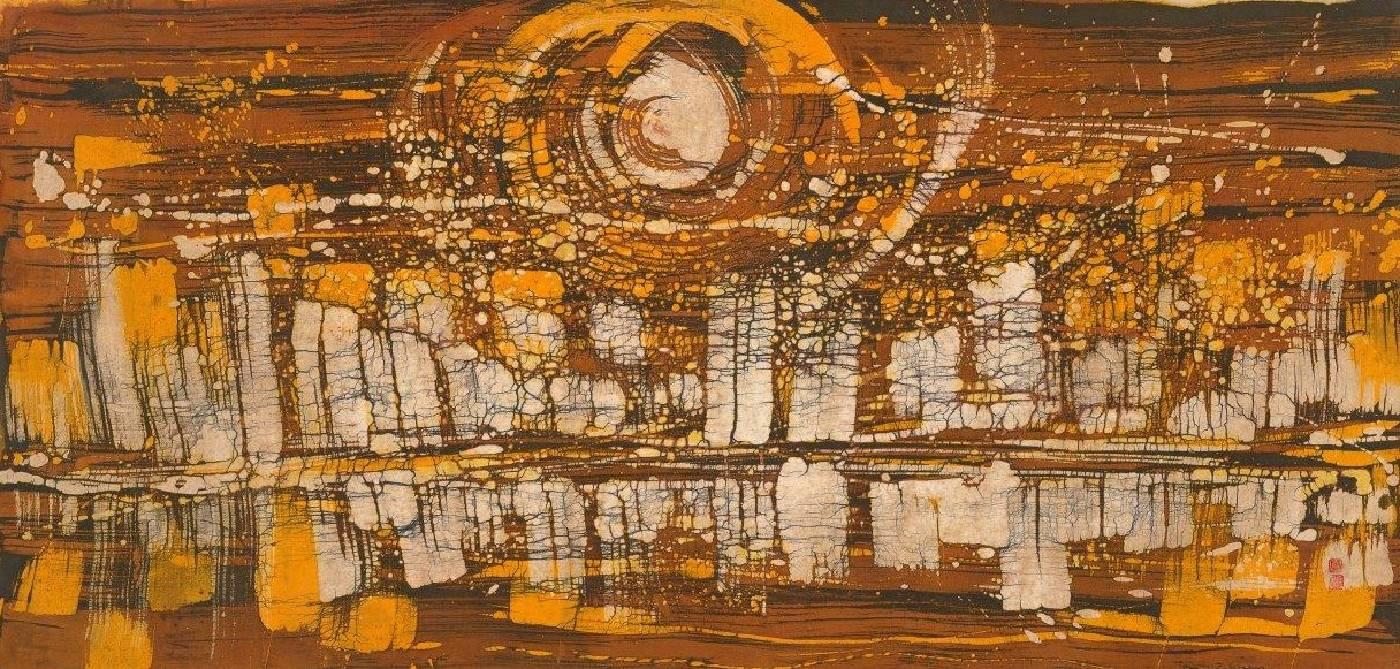 黃歌川,萬丈高樓平地起,70x142cm,冰裂紋蠟染畫,1970。