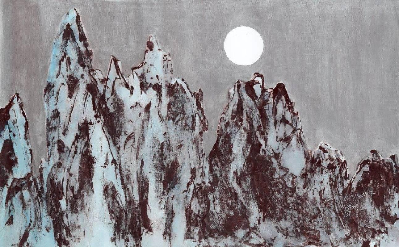 黃歌川,明月掛山頭,103x64cm,油彩畫布,2008。