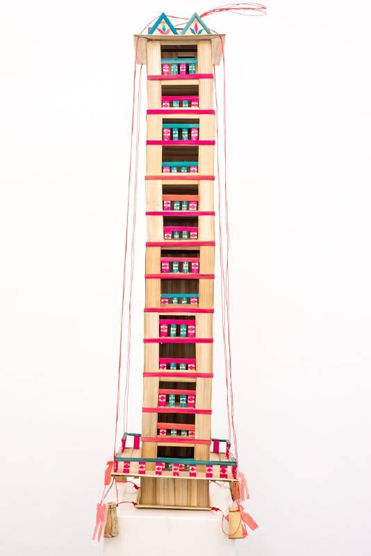 鑽石屋 Diamond CA&SA,李奎壁,竹、塑膠布、塑膠繩,35*35*135cm,2020