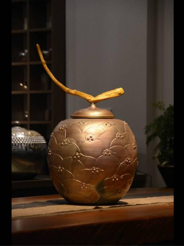 金彩刻紋茶倉40x45cm