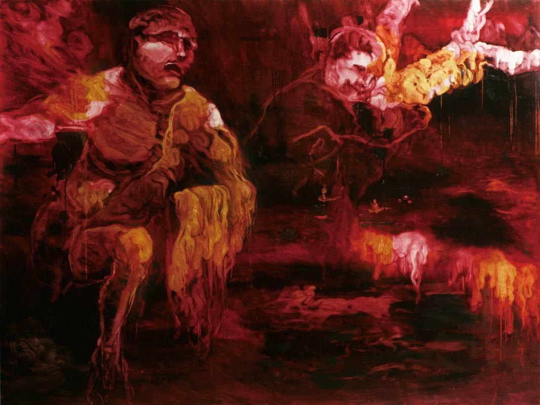 常陵 五花肉系列-肉宗教-金身佛的脫胎換骨 2010 油彩 194x259cm