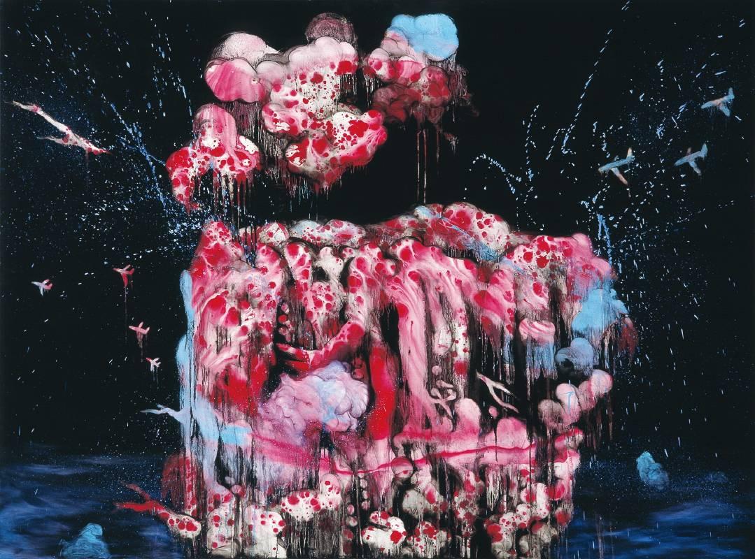 常陵 五花肉系列-肉山水-芙蓉出水圖 2006 油彩 145x195cm