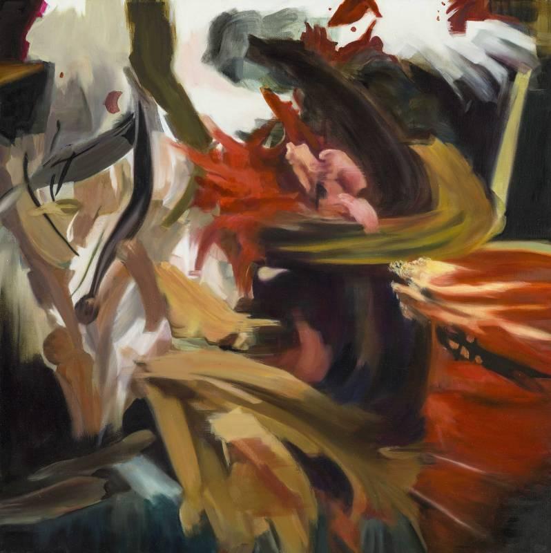 游依珊 (1972-, Taiwan),漂浮 2015-9,油彩、畫布,95 x 95 cm,2015