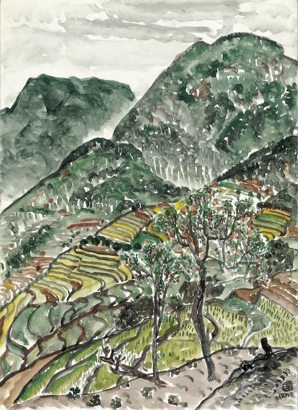 《桃林與梯田》 Peach Orchard and Terraces  2018 彩墨、紙本 Ink and color on paper 41x29.7cm