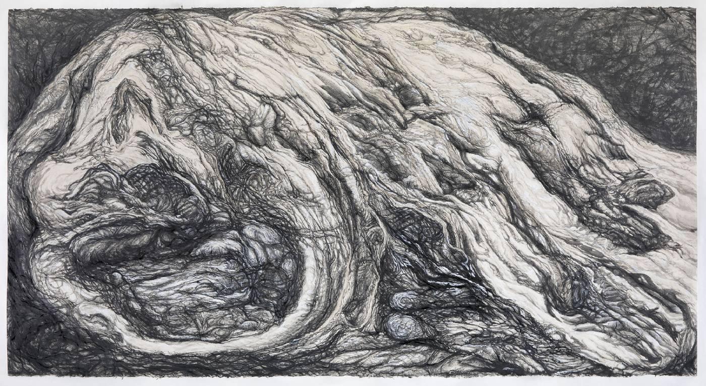 石晉華  SHI Jin-Hua  《父親的石頭#2》 My Father's Stone #2  2020 紙、灰塵、墨汁、石墨、鉛筆、粉彩、炭精筆Dust, ink, graphite, pencil, pastel and charcoal stick on paper 74.5 x 138 cm