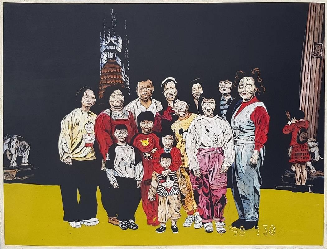 《在四面佛媽說想拍張全家福》  ,60 x 80 x 0.5 cm,壓克力彩、木刻,2019
