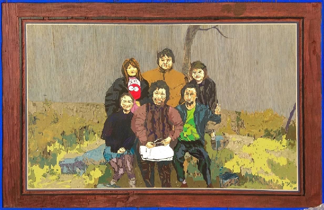 《在八卦後山媽說 想拍張全家福,農曆年》,77 x 52 cm,壓克力彩、木刻,2018 2017 2009