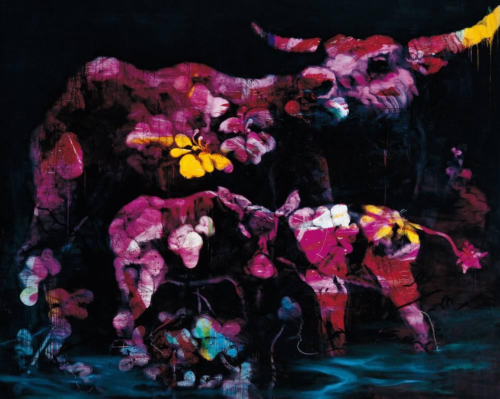 常陵 五花肉系列-肉花鳥-台灣水牛圖 2007 油彩 182x227cm