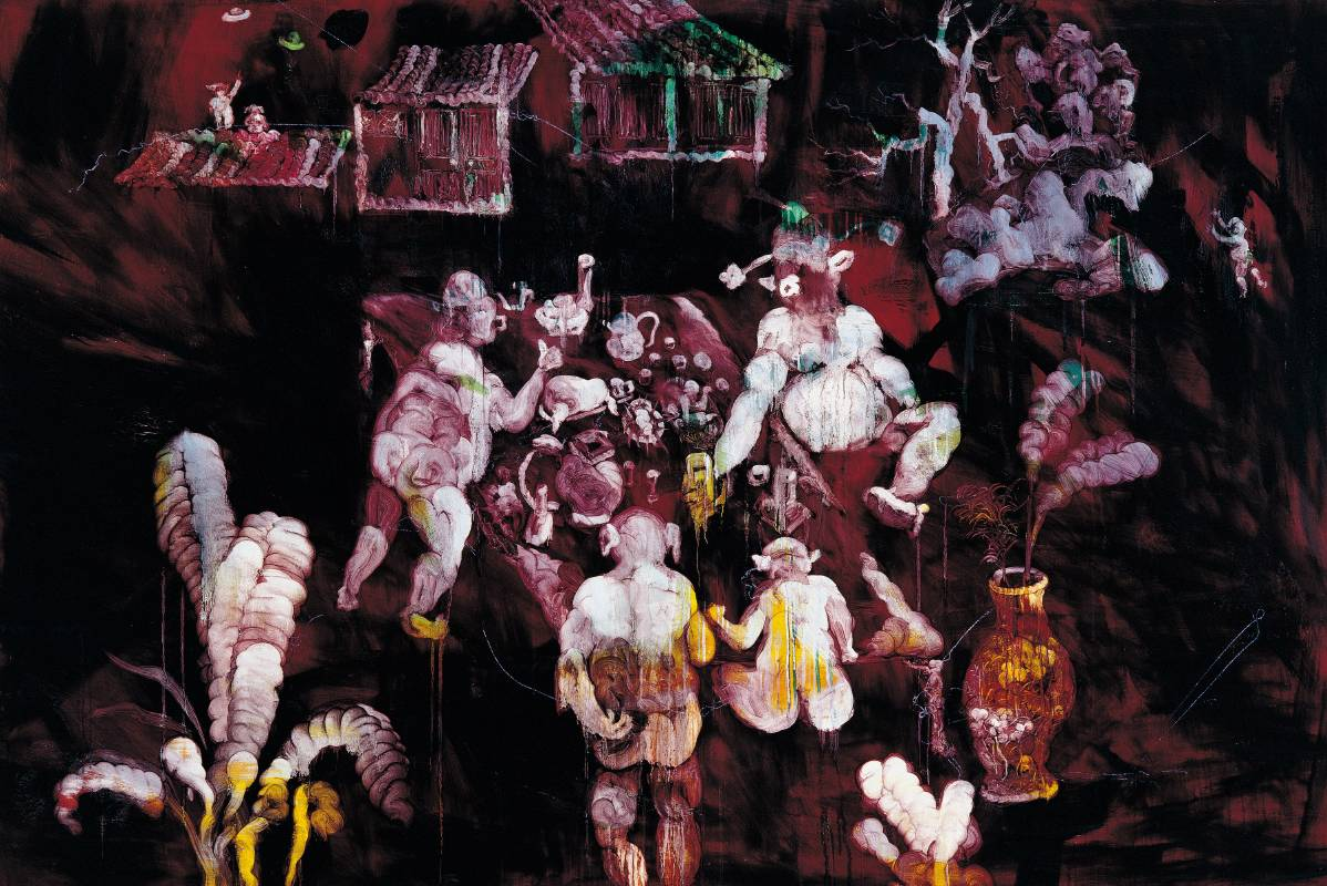 常陵 五花肉都市-肉都市-高家莊夜宴 2008 油彩 130x194cm