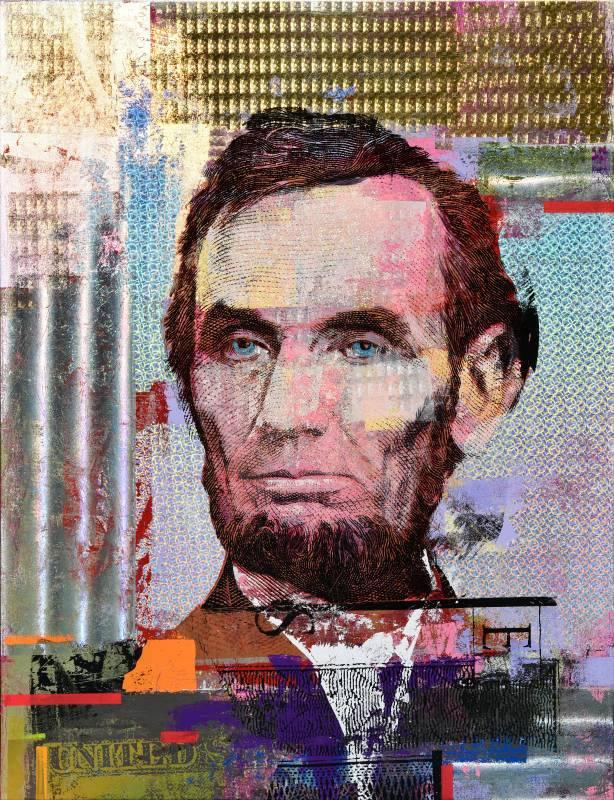 Houben Tcherkelov Abraham Lincoln 5 Dollars 2018 複合媒材 101x76cm