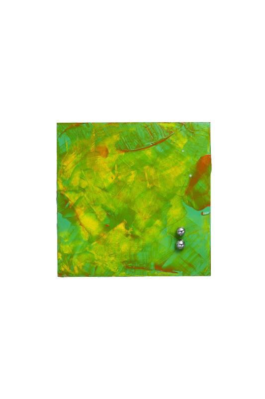煉金術系列 《露水》 23.5x23.5x5.5cm 木、壓克力漆、不鏽鋼 2020