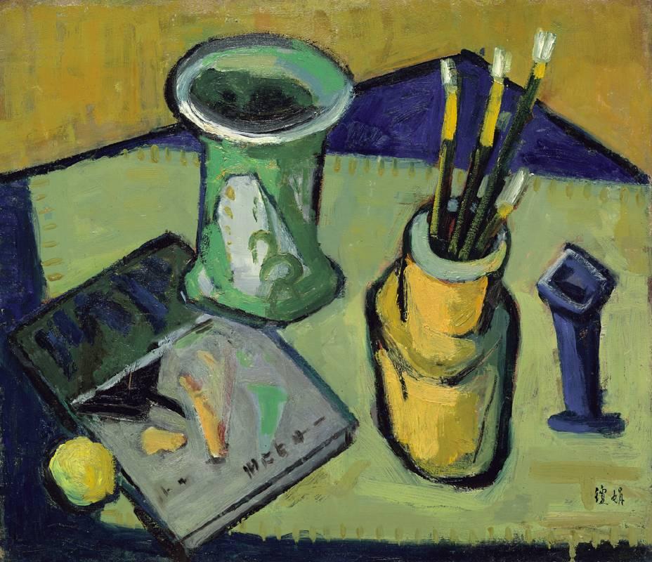 桌上靜物, 油彩、畫布, 53x45.5cm (10F), 1956