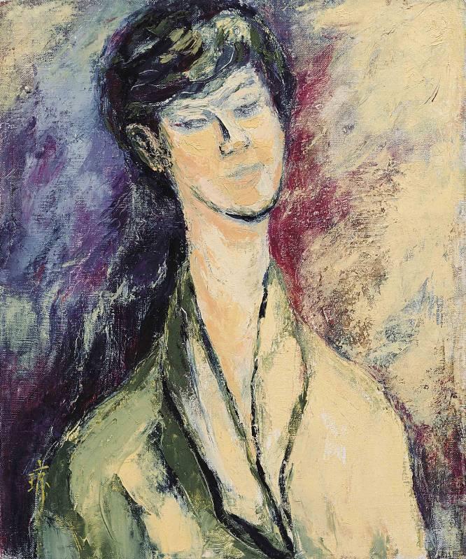沉思, 油彩、畫布, 45.5x38cm (8F), 1993