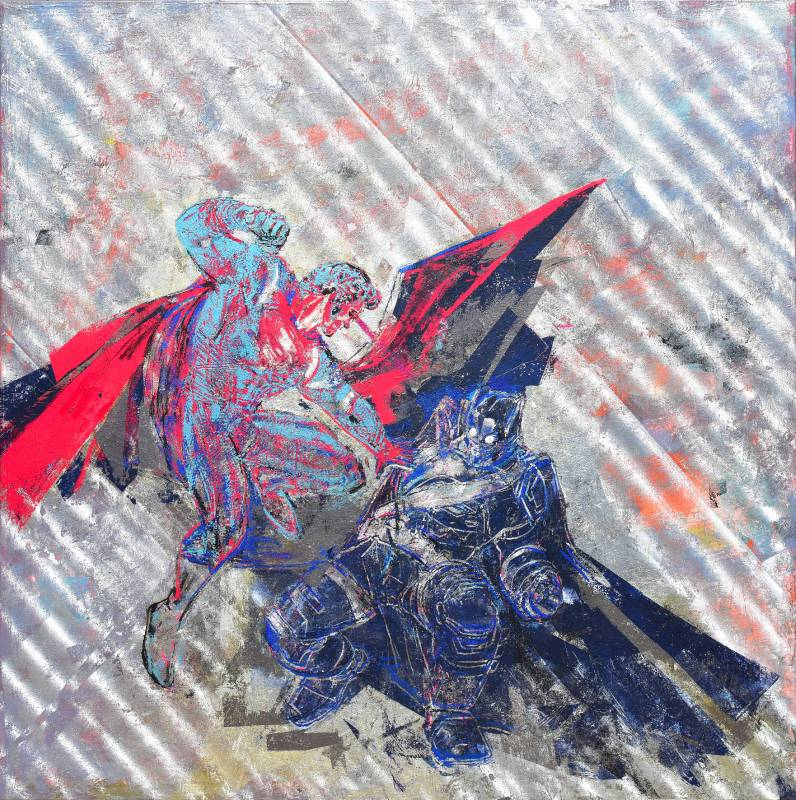Houben Tcherkelov Superman vs Batman 2016 複合媒材 122x122cm