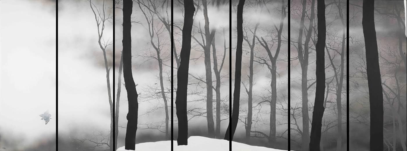 破靜 (7件拼板),167 x 434 cm,油彩、畫布,2019