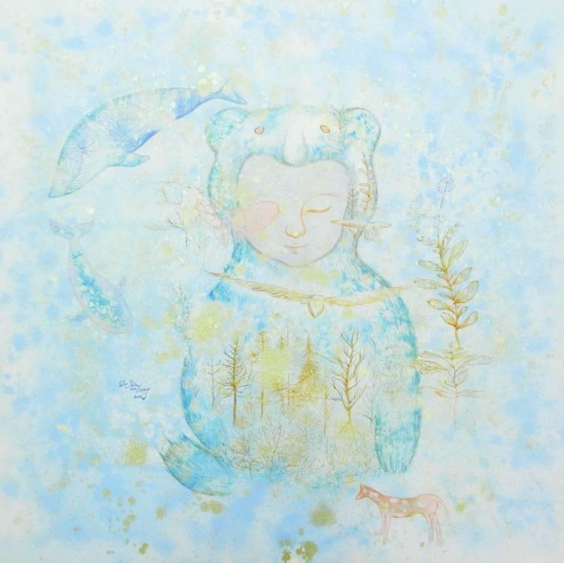 曾詩涵 森之語 2016年 75×75 cm 色鉛筆,水干顏料,礦物顏料,麻紙   TSENG, Shih-Han The Fairytale Forest   Mixed media on hemp paper