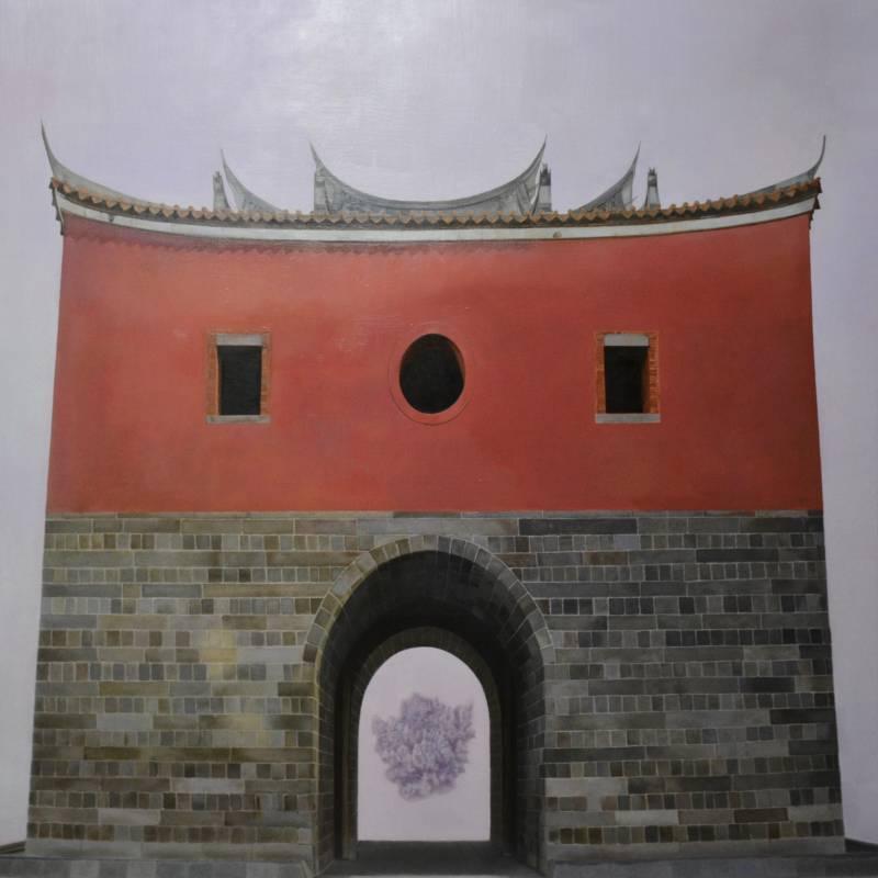 蔡維傑 過門  120×120cm 油彩,畫布  TSAI, Wei-Chieh  Behind the door  Oil on canva\