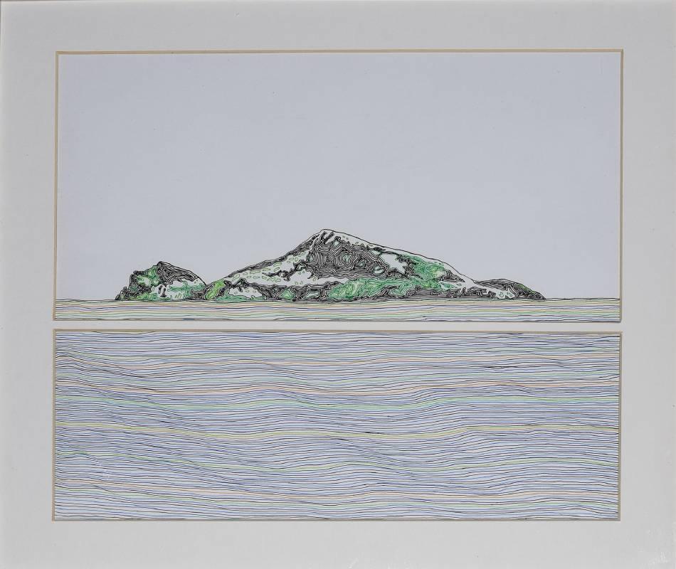 王昱翔 山海一線 2017年40x50cm原子筆,紙   WANG Yu-Shiang  Yilan Turtle Island  Ball pen on paper