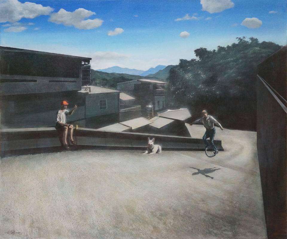 林煥嘉 哦!飛起來了!2020年 60.5×72.5cm 壓克力顏料,畫布  LIN Huan-Chia  Oh! You can fly!  Acrylic paint on canvas