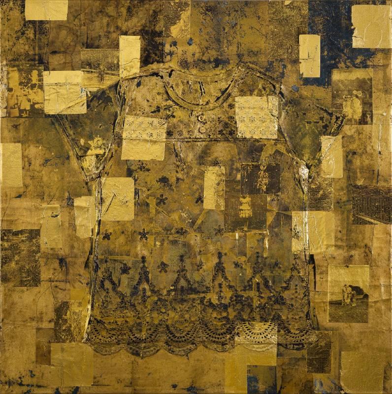 黃至正 備忘錄 No.6 2019年 100x100cm 金箔,胚布,線,衣物,複合媒材  HUANG, Chih-Cheng  Memo No.6  Mixed media
