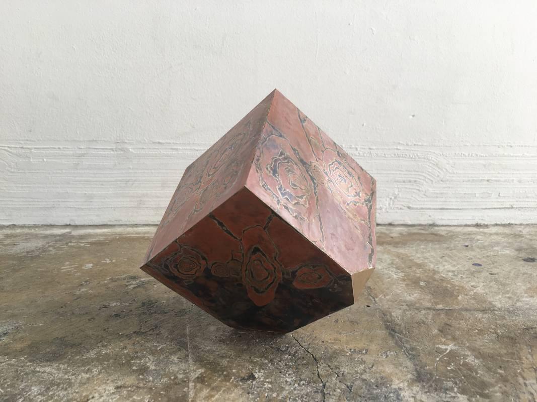 裸立方 #27 Uncovered Cube #27, 2020, 金、銀、銅、黃銅 Gold, Silver, Copper, Brass, 10.1 × 10.1 × 10.1 cm